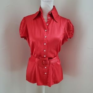 Bebe silk rhinestone button down blouse size M red